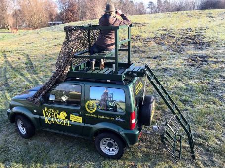 Betker Jagdkanzel Mobile Jagdkanzel Drückjagdbock für den Dachgepeckträger RAL 9005 – schwarz von hinten von hinten | RAL 9005 – schwarz