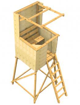 Drückjagdbock geschlossen mit Dach / Kanzel offen mit Dach