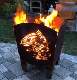 Feuerkorb rostig Motiv Angeln Forelle aus 3mm Stahl
