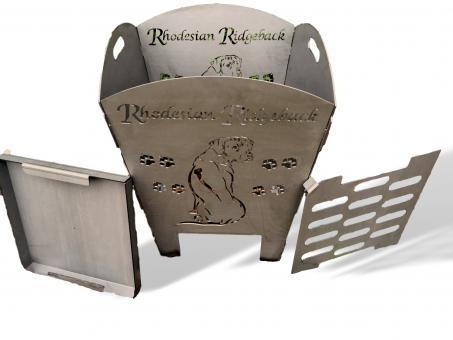 Feuerkorb rostig Motiv Ridgeback aus 3mm Stahl