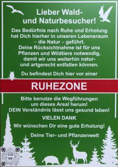 Schild Ruhezone Wald Besucherinformation